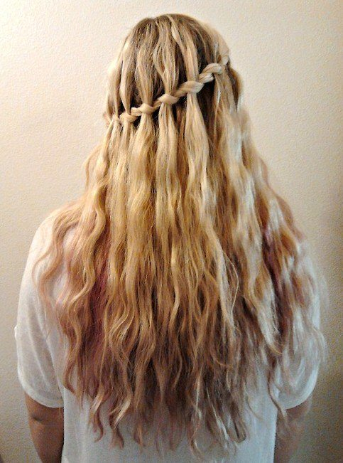 Two Section Angular Back Waterfall Braid Hairstyle