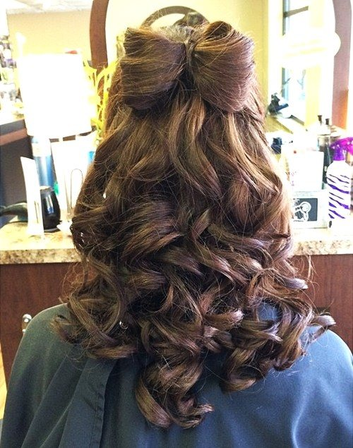 Bow Half Updo with Curls