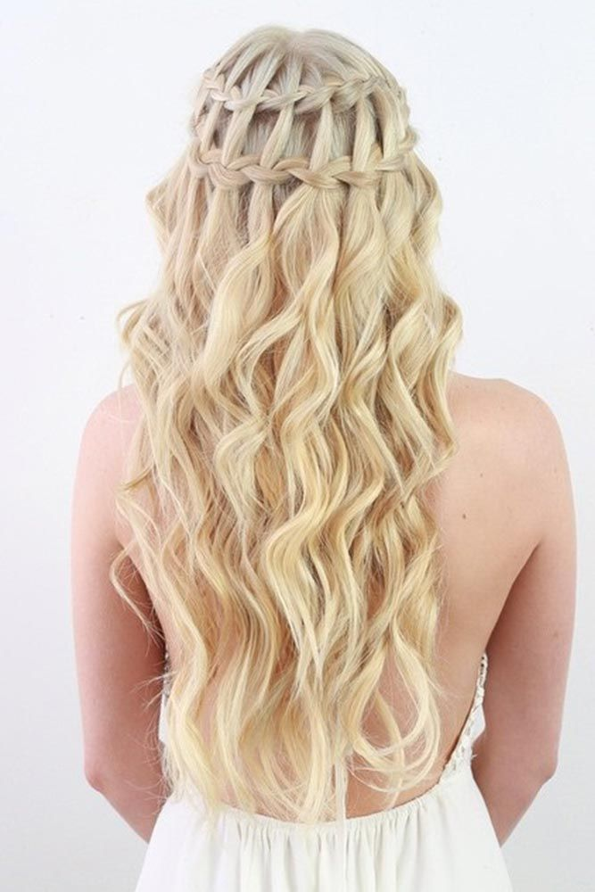 Half Up Half Down Double Waterfall Braids