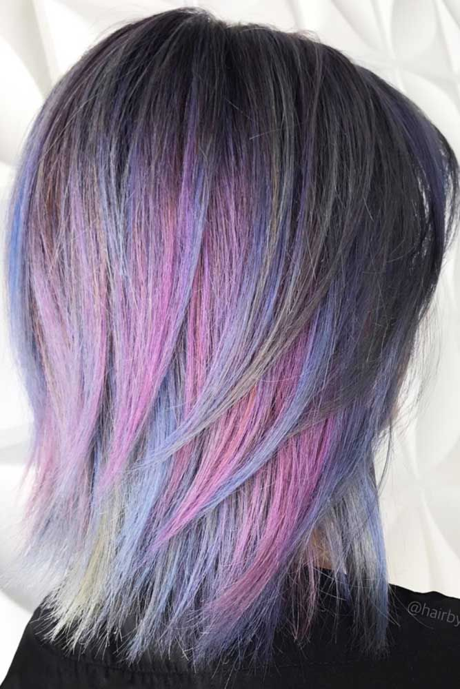 Multi Colored Medium Length Layered Hair