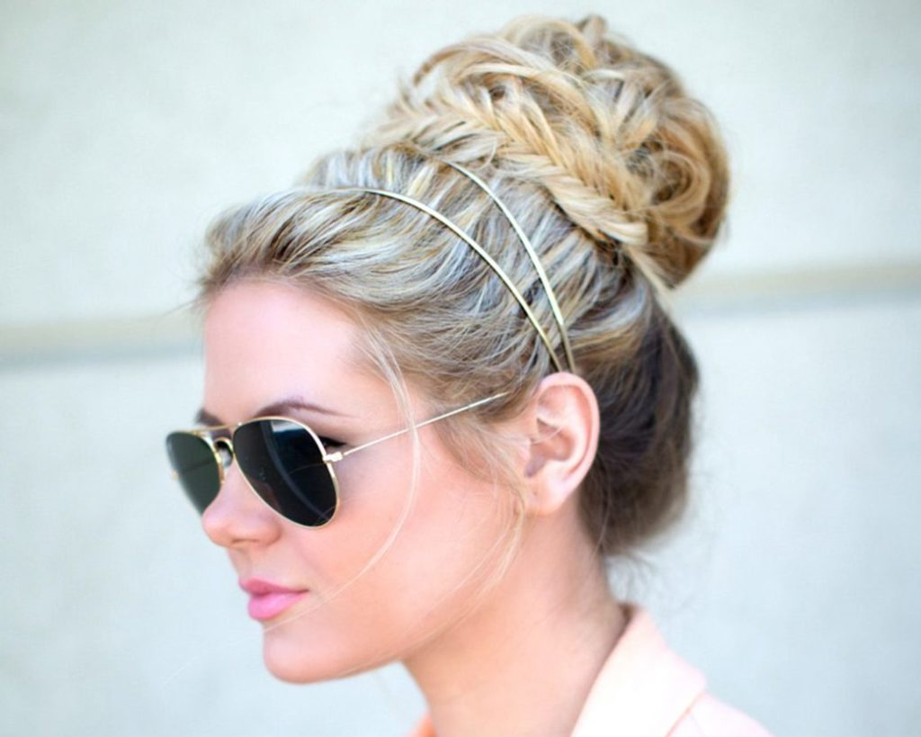 Bun with Fishtail Braid