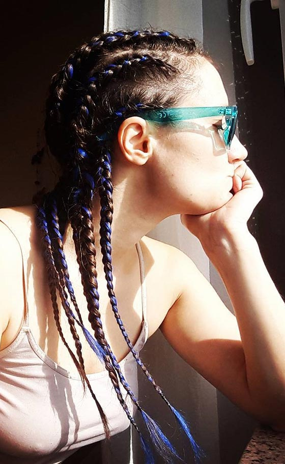 Blue Accented Cornrows