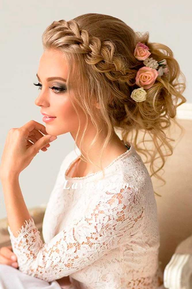 Greek Style Updo With Flowers