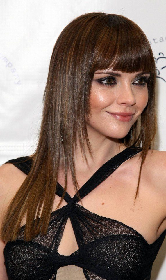 Layered Straight Haircut with Blunt Bangs