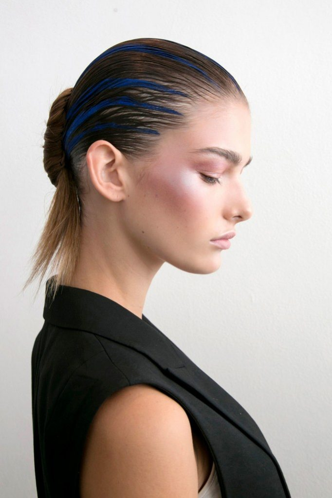Sleek Updo with Blue Highlights