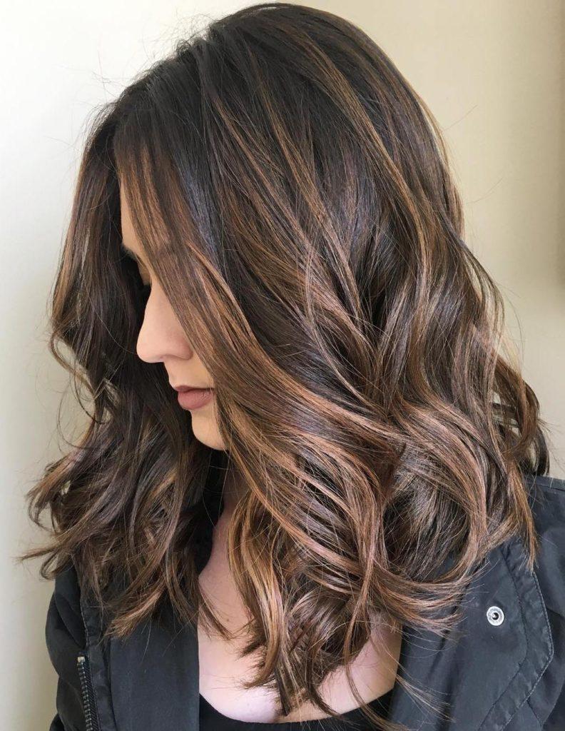 Chocolate Highlight Balayage Hairstyle