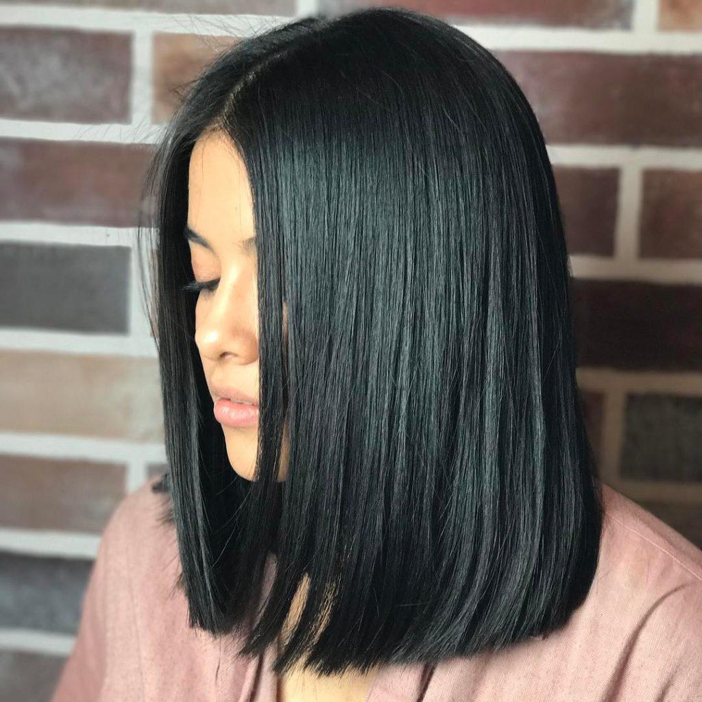 Medium Length Blunt Haircuts With Bangs 16