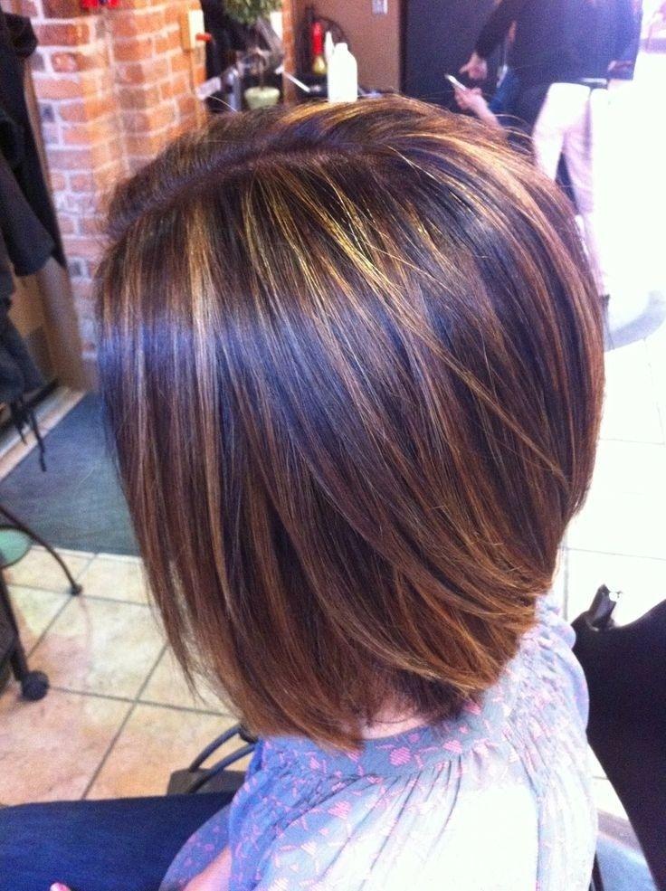 highlights short hairstyles hair dark brown global caramel cut coolest haircuts blunt